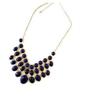 Blue & gold statement necklace